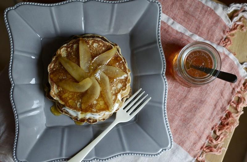 pancake cacio, pere e miele